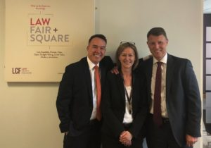 Susan Clark of LCF Law with Steven Bramley and Richard Martin of Credit Style