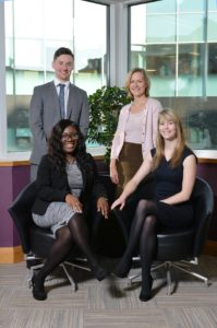 Partner and head of corporate Susan Clark, Personal Law (Wills and Probate) Clare Bennett, Corporate Patricia Obawole and Corporate Will Reynolds